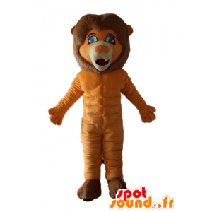 Lion mascot orange and brown with blue eyes - MASFR22986 - Lion mascots