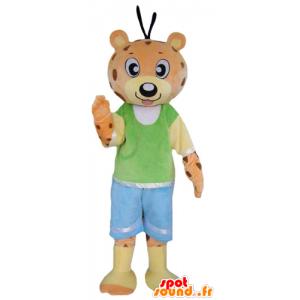 Oransje og gult teddy maskot, tiger, farget antrekk - MASFR22989 - bjørn Mascot