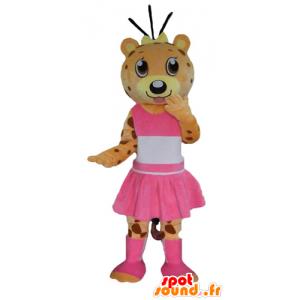 Oransje og gult teddy maskot, tiger, kledd i rosa - MASFR22990 - bjørn Mascot