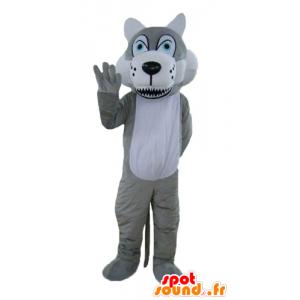 Lupo mascotte grigio e bianco, con gli occhi azzurri - MASFR22997 - Mascotte lupo