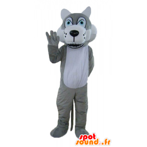 Mascot wolf gray and white, with blue eyes - MASFR22997 - Mascots Wolf