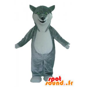 Lupo mascotte grigio e bianco, con gli occhi verdi - MASFR23002 - Mascotte lupo