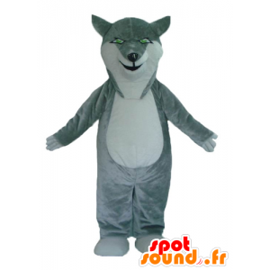 Mascot wolf gray and white, with green eyes - MASFR23002 - Mascots Wolf