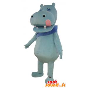 Blu ippopotamo mascotte con una grande rosa lingua