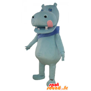 Blue hippo mascot with a big pink tongue - MASFR23004 - Mascots hippopotamus