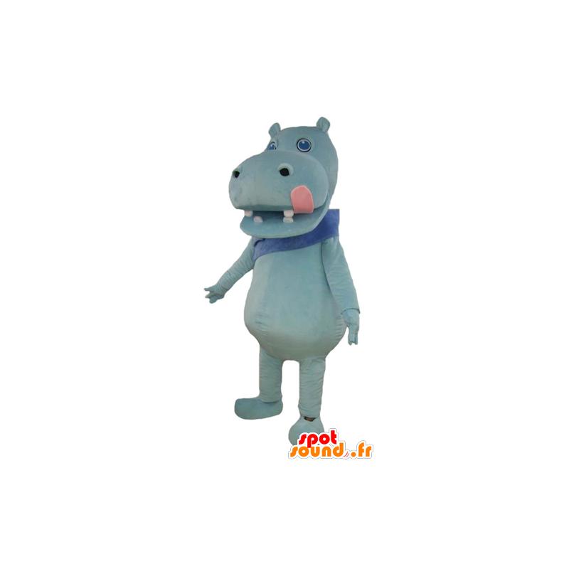 Maskotka niebieski hipopotam z wielkim różowym języczkiem - MASFR23004 - Hippo Maskotki