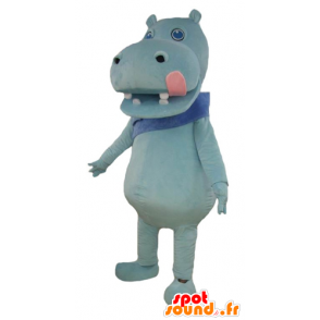 Blue hippo mascot with a big pink tongue - MASFR23004 - Mascots hippopotamus