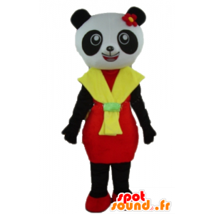 Mascot panda black and white, with a red and yellow dress - MASFR23011 - Mascot of pandas