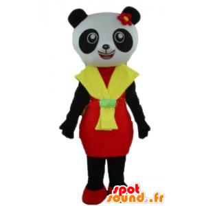 Panda Mascot in bianco e nero, con un abito rosso e giallo