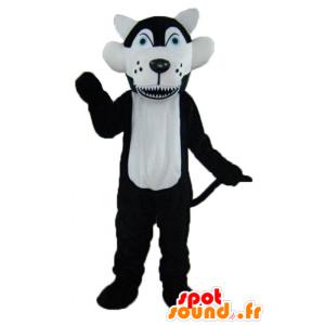 Maskottchen-Schwarz-Weiß-Wolf mit blauen Augen - MASFR23014 - Maskottchen-Wolf