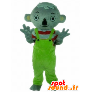 Gray koala mascot, with a green jumpsuit