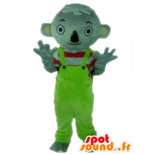Mascotte grijs koala met een groene jumpsuit
