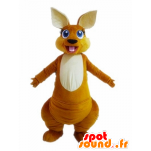 Arancione e bianco canguro mascotte, dagli occhi blu