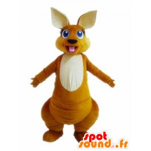 Mascotte de kangourou orange et blanc, aux yeux bleus