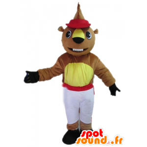 Brown and yellow beaver mascot in red and white outfit
