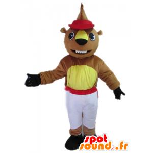 Marrón y amarillo mascota de castor en traje rojo y blanco