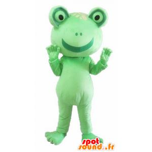 Maskot zelená žába, obří, zábavný