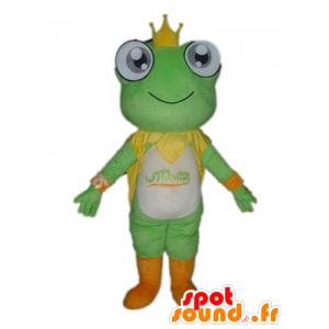 マスコット緑のカエル、白とオレンジ