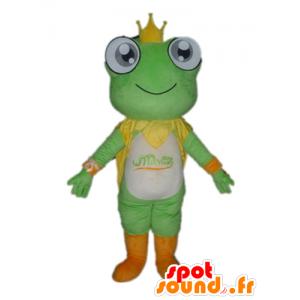 Maskot zelená žába, bílá a oranžová