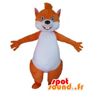 Laranja grande e mascote esquilo branco
