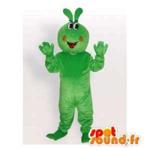 Mascotte de lapin vert géant. Costume de lapin vert