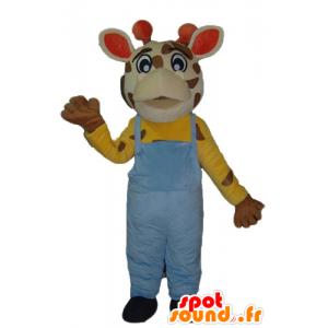 Mascotte de girafe avec une salopette bleue