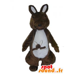 Marrone e bianco canguro mascotte con il suo bambino - MASFR23031 - Mascotte di canguro