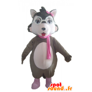 Mascot grijze wolf, wit en roze, met een bril - MASFR23032 - Wolf Mascottes