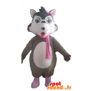 Maskotka wilk szary, biały i różowy, z okularami - MASFR23032 - wilk Maskotki