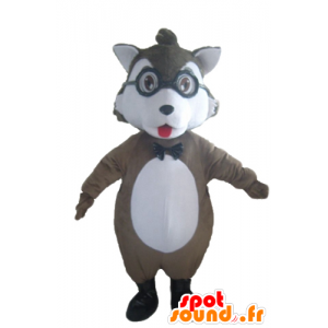 Grigio e bianco mascotte lupo con gli occhiali - MASFR23033 - Mascotte lupo