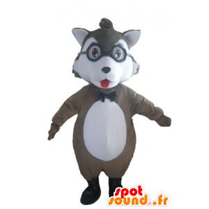 Grijze en witte wolf mascotte met een bril - MASFR23033 - Wolf Mascottes