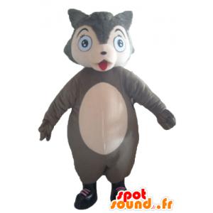 Lupo mascotte grigio e rosa, paffuto e carino - MASFR23034 - Mascotte lupo