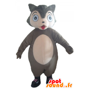 Maskotti susi harmaa ja vaaleanpunainen, pullea ja söpö - MASFR23034 - Wolf Maskotteja