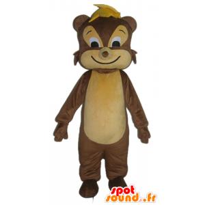 Mascot σκίουρος, καφέ και μπεζ τρωκτικών, χαρούμενη
