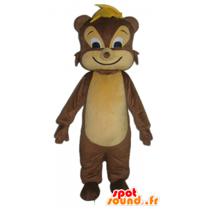 Mascot squirrel, brown and beige rodent, cheerful