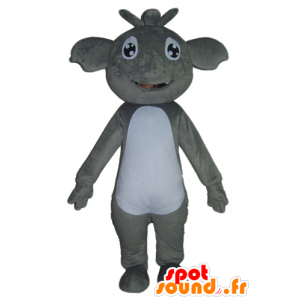 Grigio e bianco Mascotte koala, gigante e sorridente - MASFR23036 - Mascotte Koala