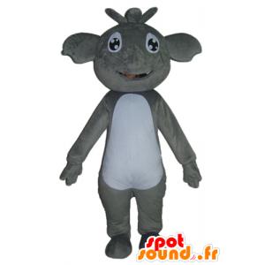 Mascotte de koala gris et blanc, géant et souriant