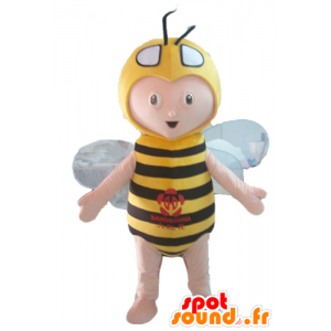 Boy mascot bee costume, yellow and black