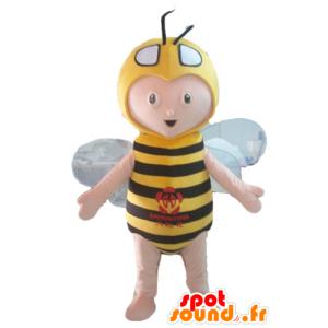Mascotte de garçon en costume d'abeille, jaune et noire