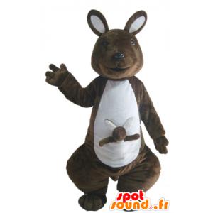 Mascotte de kangourou marron et blanc, avec son bébé