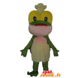 Green frog mascot, yellow and pink with a hat