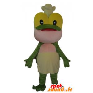Mascot groene kikker, geel en roze, met een toque