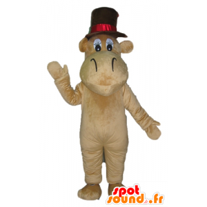 Hippo mascot brown camel with a big hat