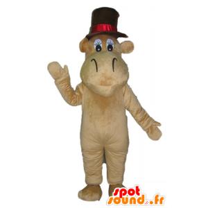 Mascotte d'hippopotame, de chameau marron avec un grand chapeau