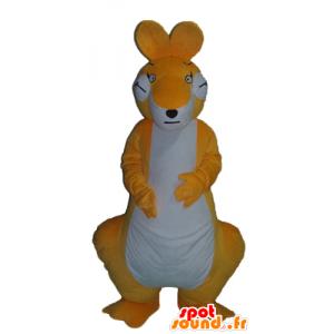 Arancione e bianco canguro mascotte, gigante e di grande successo