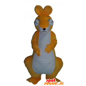 Oransje og hvit kenguru maskott, gigantiske og svært vellykket