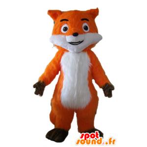 Bella mascotte arancione volpe, bianco e marrone, molto realistico
