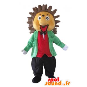 Beige mascotte e riccio marrone, che si tiene in classe e colorato - MASFR23055 - Mascotte Hedgehog