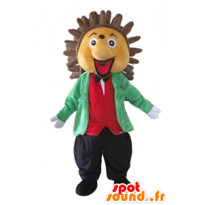 Mascot beige and brown hedgehog, held in class and colorful - MASFR23055 - Mascots Hedgehog