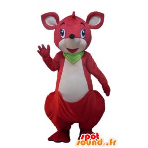 Czerwony i biały kangur maskotka z zielonym szalikiem